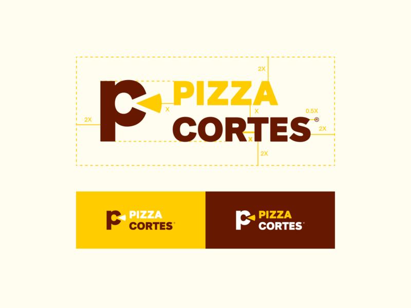 Pizza Cortes duotone logo restaurant food delivery pizza