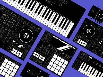 Native Instruments   Setup Illustrations branding technical reduced minimal keyboard beats machine music producer dj vector design iconset illustration instruments native