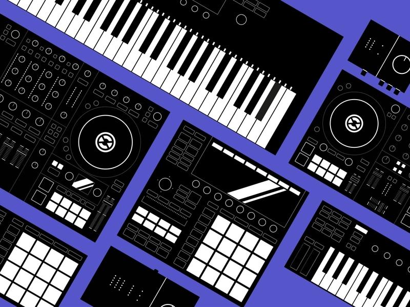 Setup Illustrations branding technical reduced minimal keyboard beats machine music producer dj vector design iconset illustration instruments native