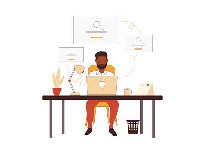 Illustrations for Website design ui business avatar flat character mascot cartoon illustration vector