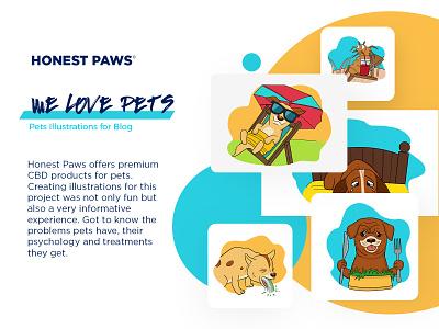 Pet Illustrations blog illustration pets cats dogs happy character mascot cartoon illustration