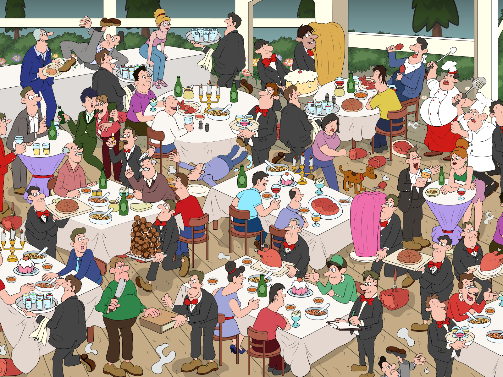 Busy Restaurant scene for Puzzle by Shallu Narula on Dribbble