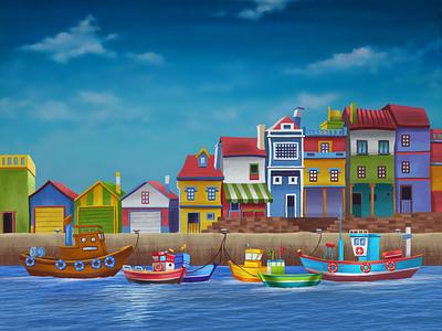 Brave Boat - Illustration 3 children cartoon boat red boat brave boat ocean boat kids book book illustration childrens book cute character cartoon illustration