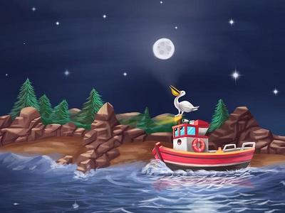 Book Illustration - Brave Red Boat ocean night scene kids book red boat book brave boat illustration digital painting