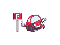 Car cartoon character for a parking app