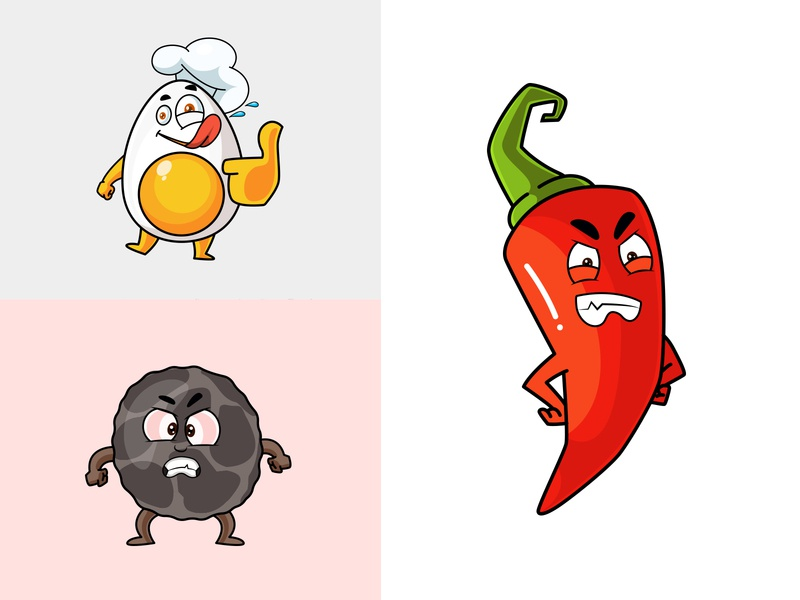 Crisps! yummy food egg pepper red chilli chilli face happy funny character mascot illustration cartoon vector