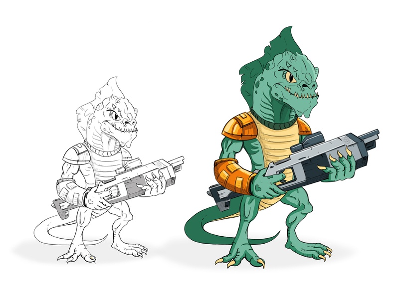 Gaming Character Concept reptile gun game gaming app design character mascot illustration cartoon vector