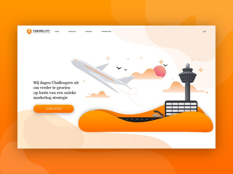 Website Illustration for Taking Off aeroplane takeoff website illustration landing page illustration ui flat illustration vector