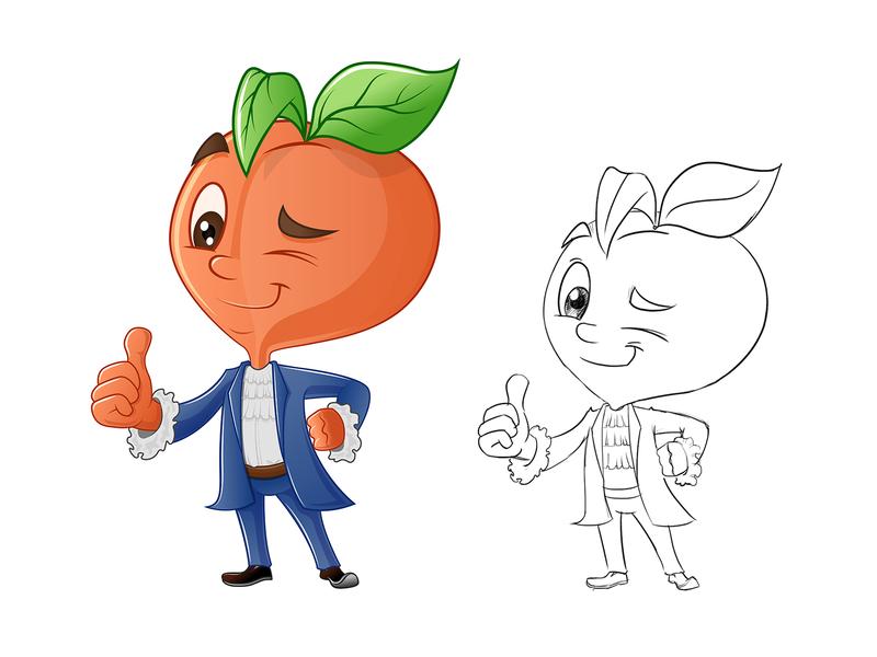 Peach Boy Mascot Design peach fruit people kids face funny happy cool avatar character mascot illustration cartoon vector