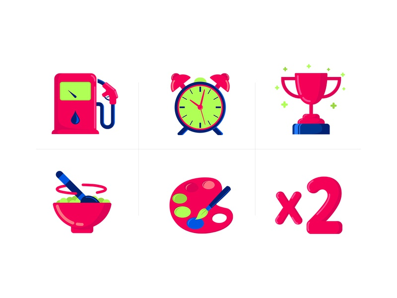 Flat Icons design vector icons flat icons pink icons design ui flat cool cartoon illustration vector