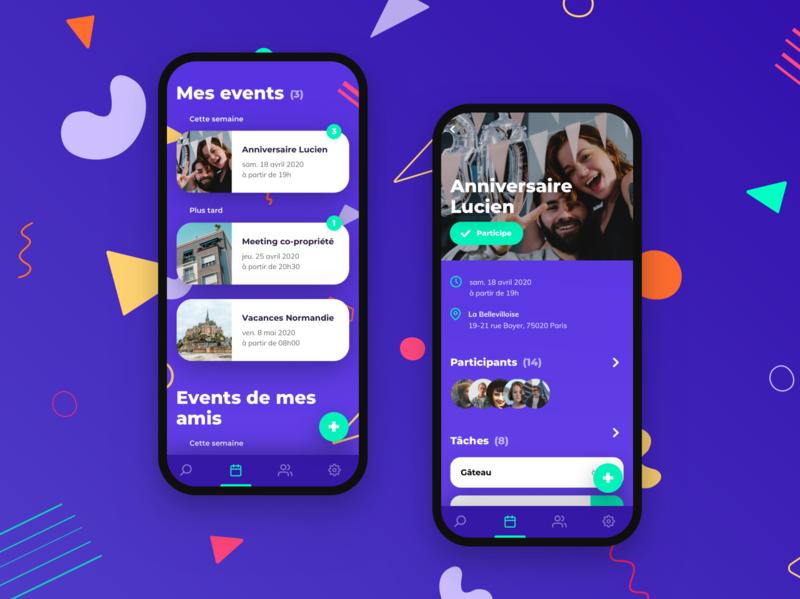 Event app design proposal ui design purple party calendar meeting organisation friends event app design app