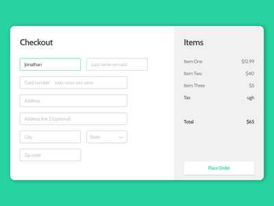 Checkout Page - Daily UI #002 ux ui payment form credit card form checkout dailyui dailyui 002