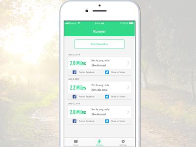 Running App - DailyUI #010 running app workout tracker workout app dailyui010 dailyui