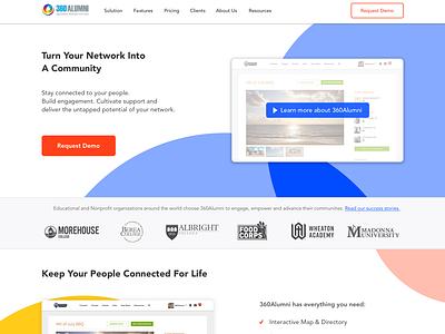 Homepage Redesign - 360Alumni marketing homepage design homepage flat  design