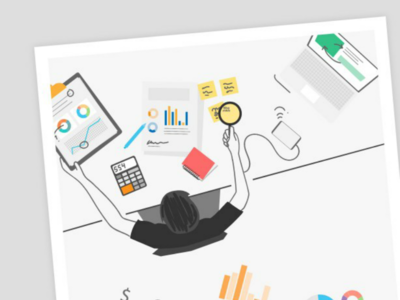 Illustration for Sharekhan laptop paperwork person research ux ui finance graphic design illustration trading fintech