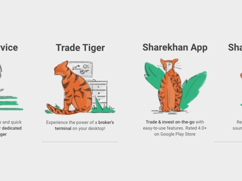 Tiger Illustrations for trading app landing page onboarding app rough style trading investment tiger ux design illustration