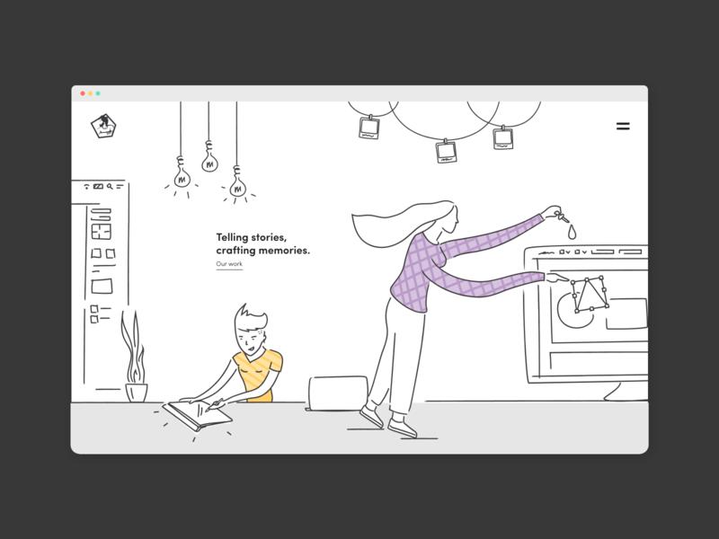 Illustration for UX Studio - Part 2 pastel colours doodle studio office line illustrations uiux design studio typography ux graphic design design illustration
