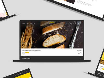 E-commerce experience for bakery user interface website baking food image sourdough bread illustration bakery