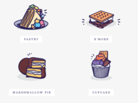 Illustrations for Messy Mallows icons cake shop branding yummy illustration cupcake smore cake marshmallow