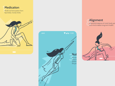 Supergirl illustrations for Ayu.care mobile ayurveda line illustrations sketches superwoman superman supergirl character ui ux illustration
