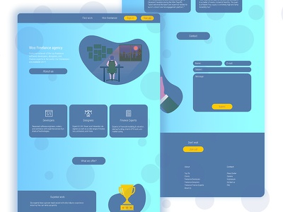 Freelance Agency Full Page modern flat illustration interface ux ui page landing design graphic web