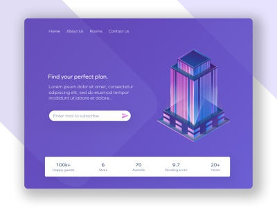 Luxury Hotel 2d modern page layout landing interface flat illustrator web ui ux illustration graphic design