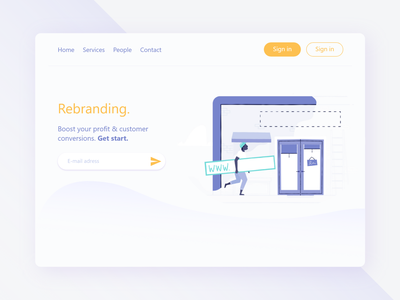 Rebranding Web theme branding illustration modern layout page landing interface flat 2d illustrator web ux ui graphic design