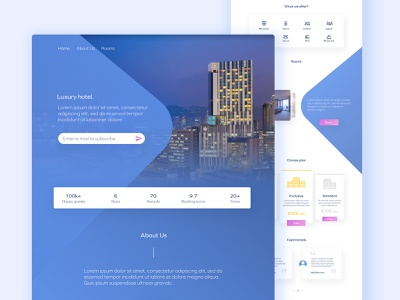 Luxury hotel template modern layout page landing interface web ux ui graphic design
