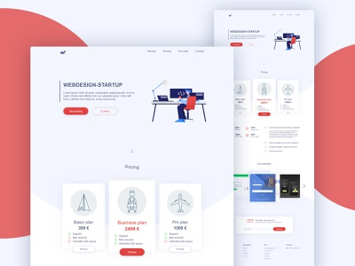 Web Design Startup Landing Page template mobile theme business app branding modern layout illustration 2d page landing flat interface illustrator web ux ui design graphic