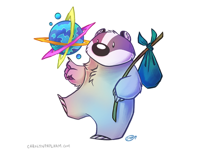Space Badger Sticker fantasy sci-fi space badger character design