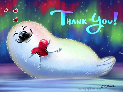 Thank You Card greeting card thank you baby harp seal seal illustration