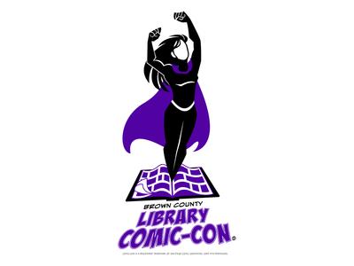 Brown County Library Comic-Con Logo superhero library book comic graphic design logo