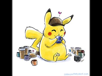 Coffee Break fanart detective coffee break coffee detective pikachu pikachu pokemon sketch illustration