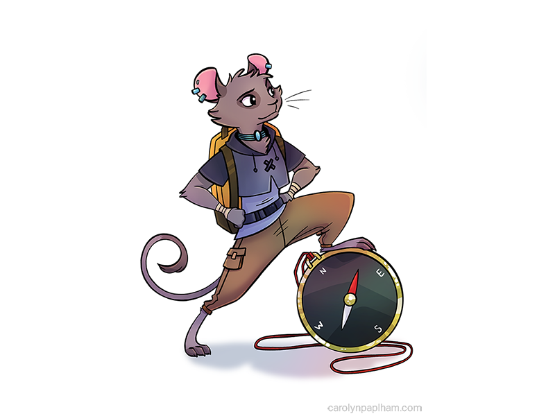 Leader ttrpg purple aether games compass leader anthropomorphic mouse character design