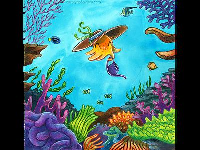 Octopus's Garden underwater ocean gardener garden coral reef octopus watercolor illustration