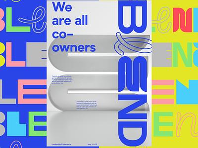 Blend typography microsoft design 3dillustration brand identity branding