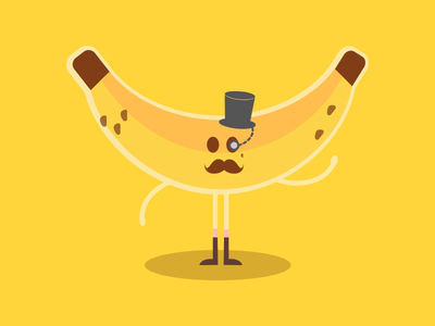 Hispter Banana vector mustache illustration hipster flat banana