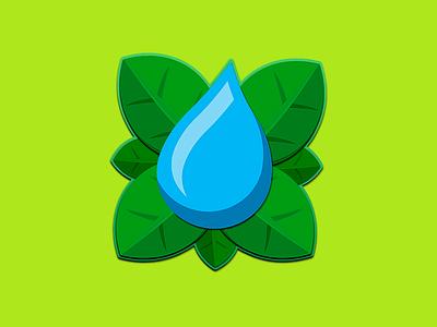 Drop Leaves logo stamp leaves leaf water drop