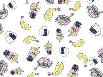 repeat pattern for CHON tempura ramen riceballs boba repeat pattern pastels hand drawn illustration