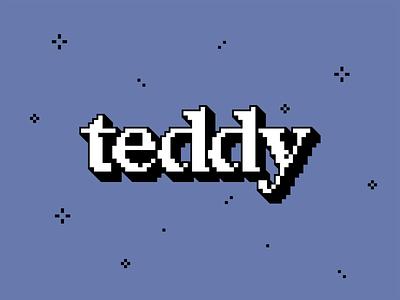 Wordmark Experiment retro 8bit tedwhy blue brand logo bear teddy wordmark logo