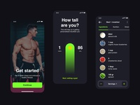 Plant-based Nutrition App gym onboarding iphone flat design food fitness green app ux ui