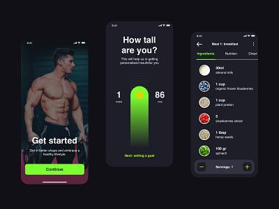 Plant-based Nutrition App gym onboarding iphone flat design food fitness green app ux ui