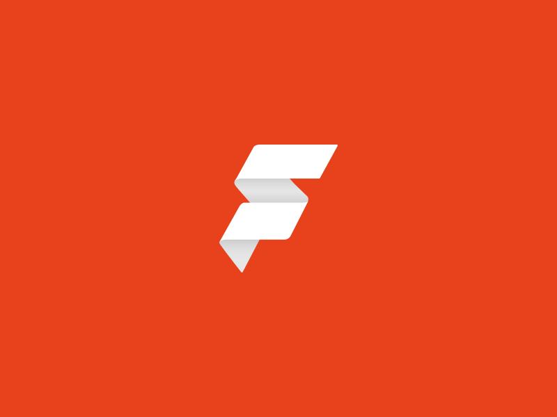 Fliq Movie App logo simple flat orange red movie f design app icon