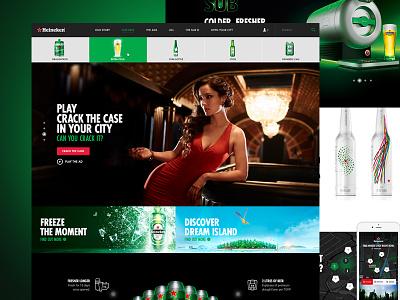 Heineken.com heineken header flat simple menu green dark map web button