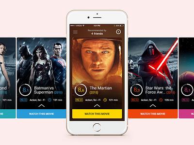 Fliq ui mobile simple cards 6 iphone design flat movie app