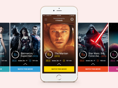 Fliq ui mobile simple cards 6 iphone design flat movie app