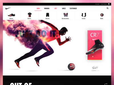 Nike clean ux menu yellow red product page simple ui header home web nike