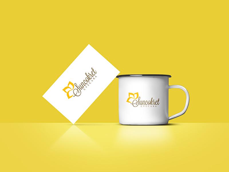 Sunflower flowers shop sunflowers typography vector branding logo