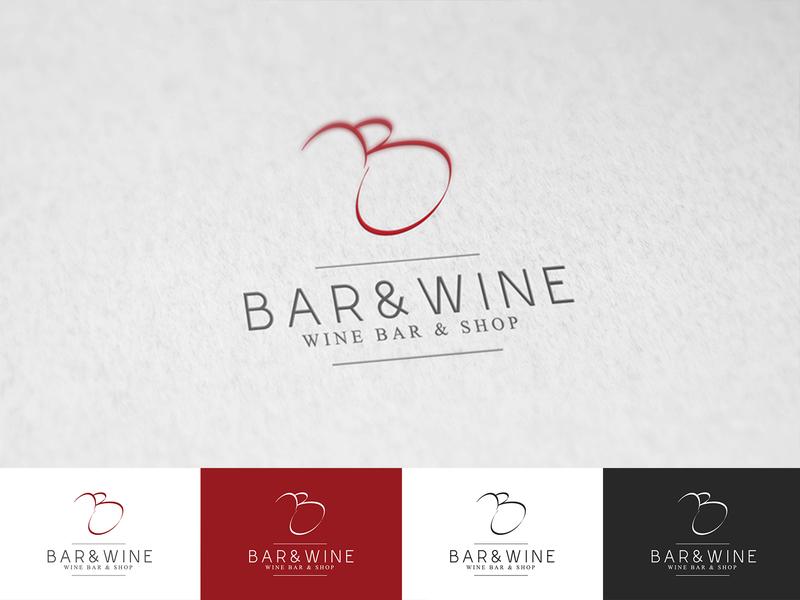 Bar & Wine logo design shop bar wine typography vector logotype logo design branding logo
