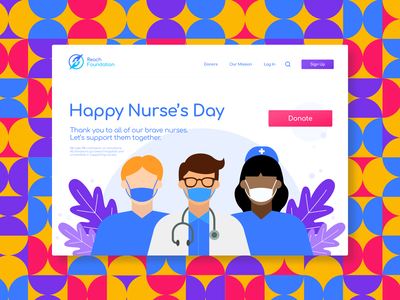 Happy Nurse's Day Website Concept abstract abstract art donation colorfull colors illustrations illustration illustrator art website design website concept designing branding concept colorful art colorful design concept design